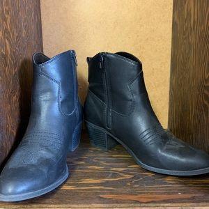Black cowboy style booties